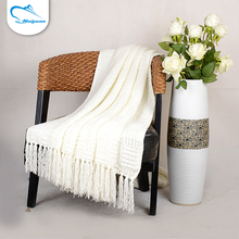 Fashionable solid color knitting tricot 100% acrylic soft tassel knee blanket