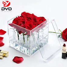 Crazy sales wholesale Valentine's Day crystal clear acrylic flower box