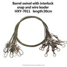 Wholesale High Qulality Barrel Swivel with interlock Snap and Wire Leader
