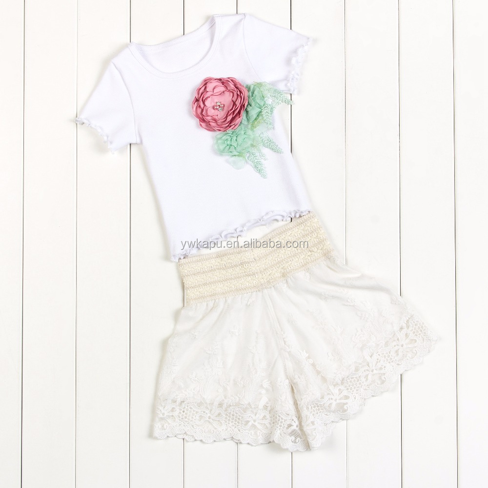 2017 New Fashion Design 2 Pieces Baby Girls Clothes , Lace Fabric Tops+ Wave Design Short Pant Summer Cute Kids Outfits Clothing