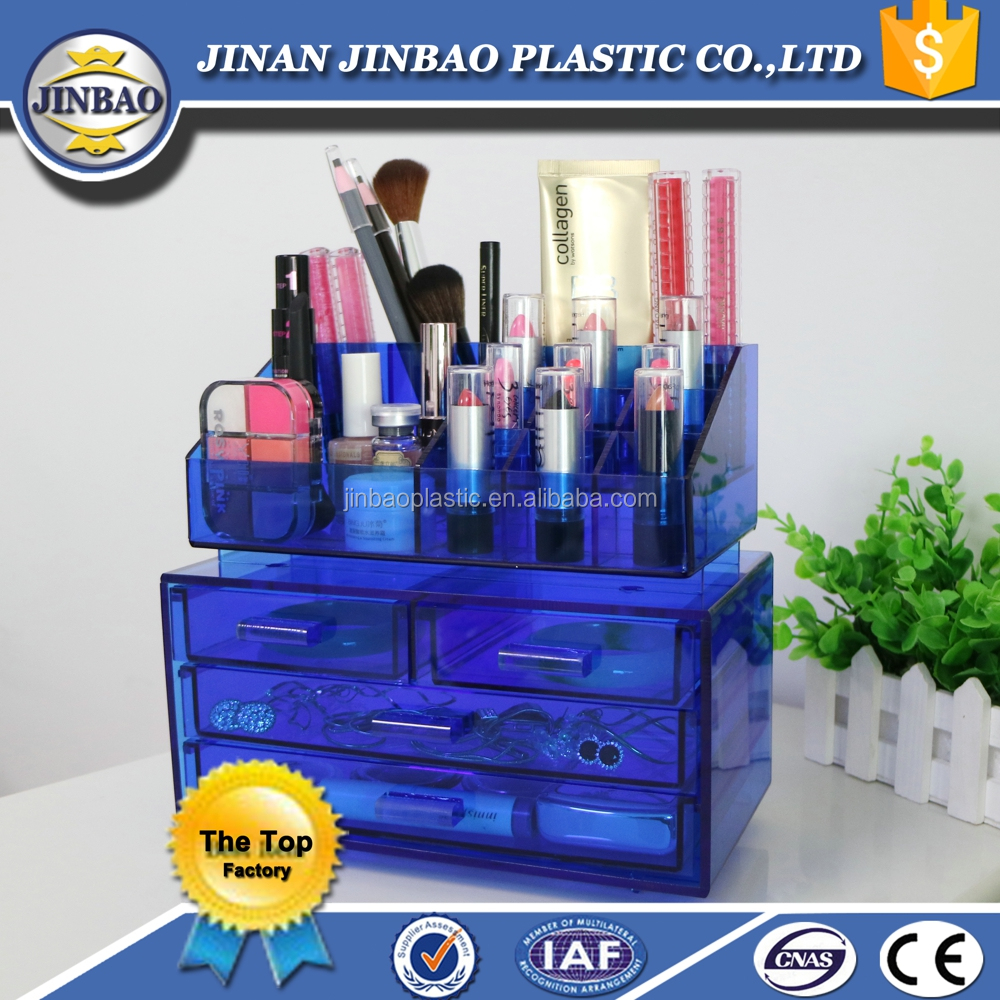 Jinbao clear acrylic favor lock box cosmetic product display stands