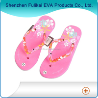 latest design silk printing woman fancy eva slippers for summer