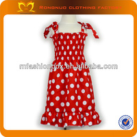Latest baby bubble girl dress designs red christmas girls frock with white polka dot for kids