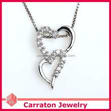 2017 manufacturer 925 Sterling Silver wholesale link hearts pendant necklace customized fashion jewelry cubic zirconia