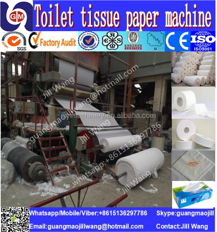 1880mm 5-6tons per day Hot Sale High Quality single cylinder and single wire toilet tissue paper making machine price