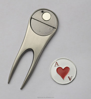 Colorful usa custom made die casted high quality metal golf divot tool with soft enamel ball markers