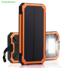 PowerGreen Dual USB Waterproof Power Battery Bank 15000mAH Cheap Mobile Phone Solar Charger with torch