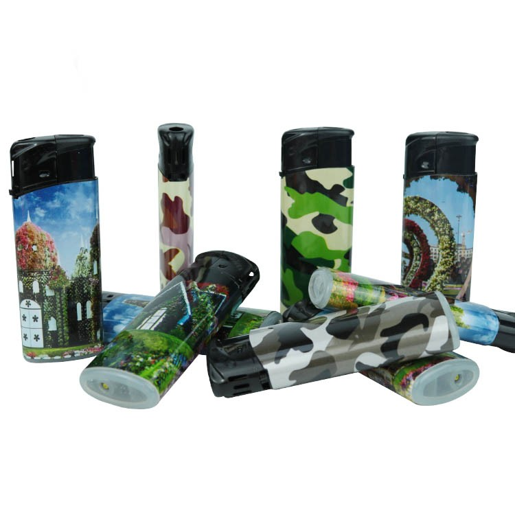 Customize design wrap sticker butane lighter refill valve cheap piezo cigar lighter
