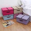 Encai New Vintage Double Lid Clothing Storage Bins High Quality Linen Storage Boxes