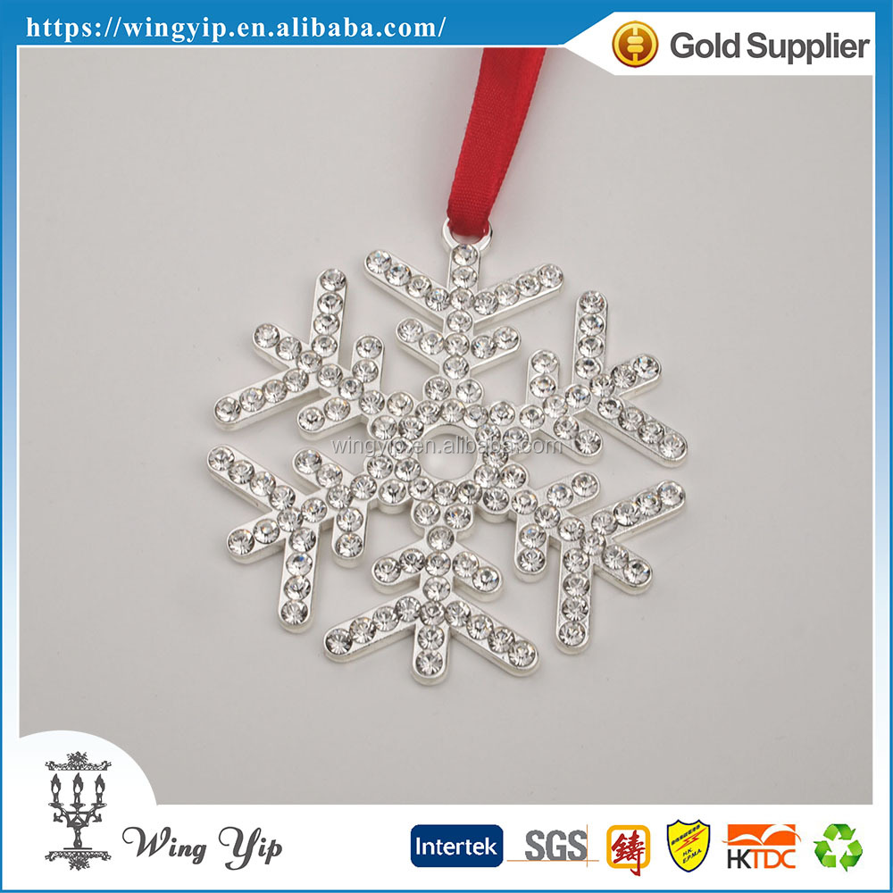 OEM and ODM good quality Snowflake with crystals Zinc alloy metal Sovenir for decoration