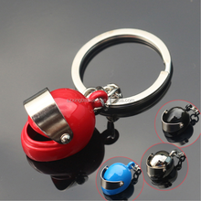 hot promotional metal round spinning helmet key chain