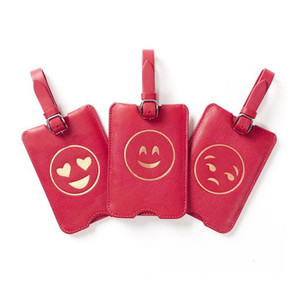 Personalized wholesale bulk custom emoji leather luggage tag in high quality