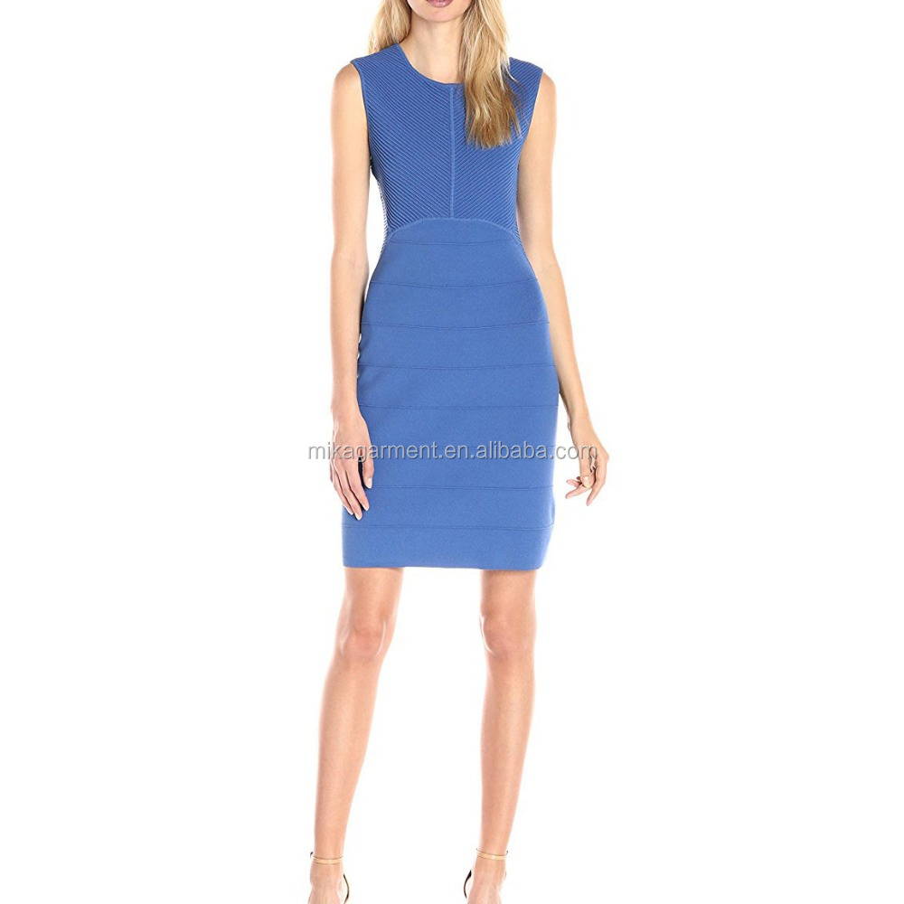 OEM hot sales blue bodycon sexy dress design