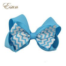 Cheap Cheerleader Double Stacked Wave Print Pattern Hair Bow
