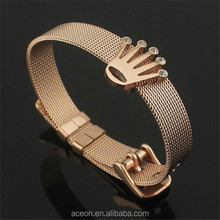 Yiwu Aceon Stainless Steel Customized logo Crown Slider Charm Mesh Watch Band Bangle