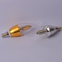 energy saving 4W LED candle glass light bulbs ,warm color