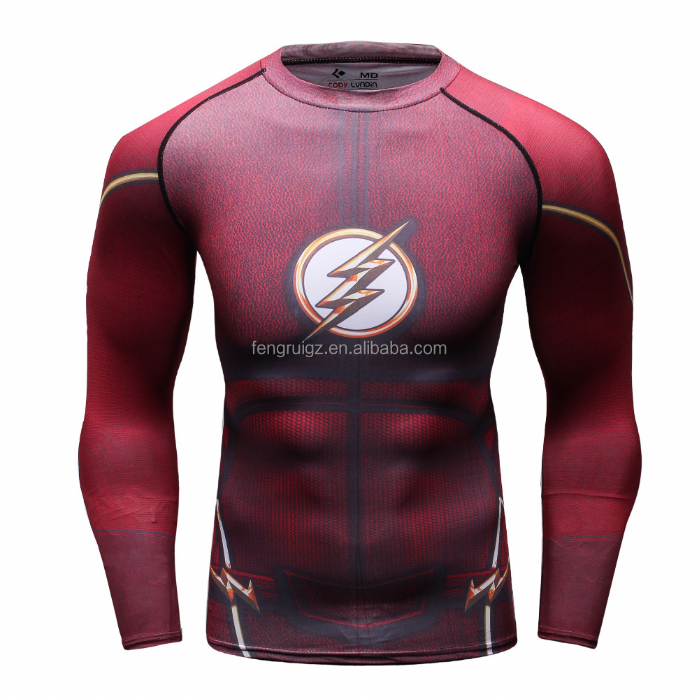 China Manufacturers long sleeve 3D sublimation printing compression sport clothes Red Flash men shirt fitness jersey for gym