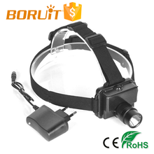 Boruit RJ-0635 Wear Resistant Plain Black Rechargeable LED Mining Headlamp