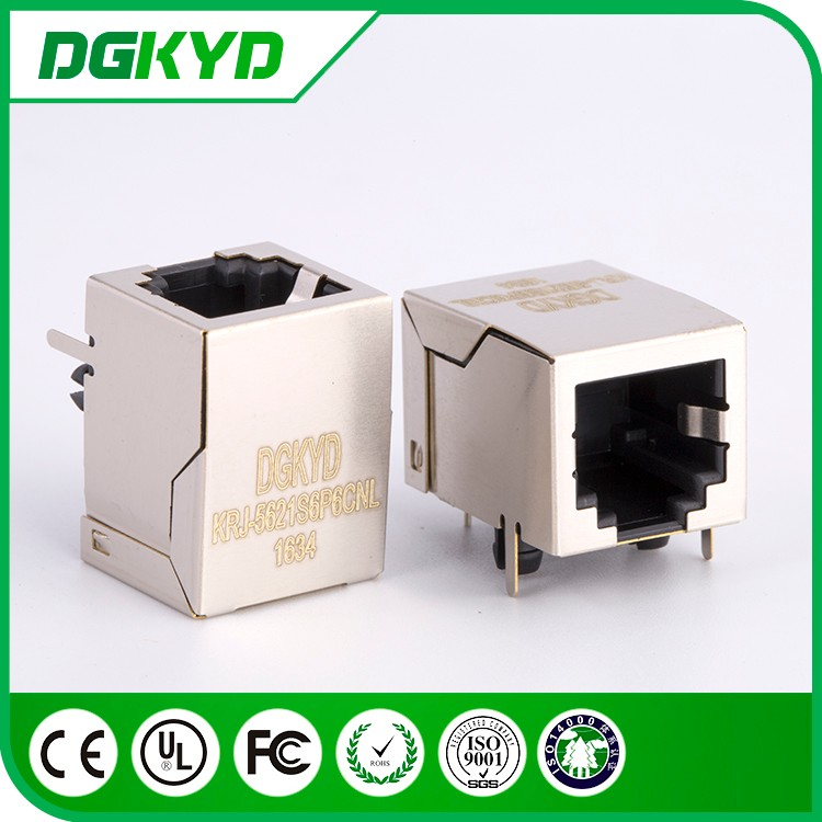 Metal shielded single port 6p6c phone jack rj11 connector