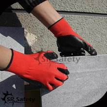 SRSAFETY 13gauge red Nylon/black Nitrile oil resister working gloves for <strong>safety</strong> cheapest price