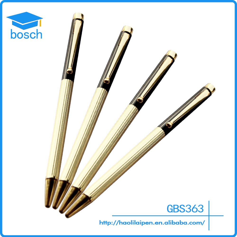 Custom Cheap Slim Gold Plating Rotation Type Metal Ballpoint Pen