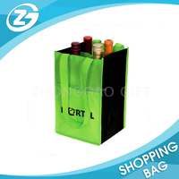 New Design Eco-friendly Reusable Green Non Woven Foldable 6 Beer Bottle Wine bag