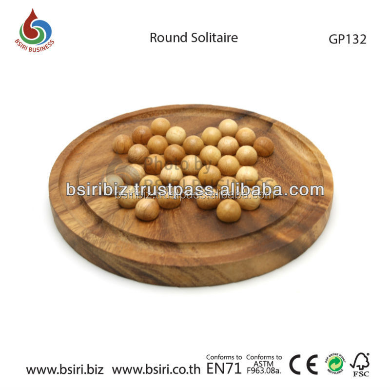 Wooden Marble Round Solitaire Hardwood Game Board