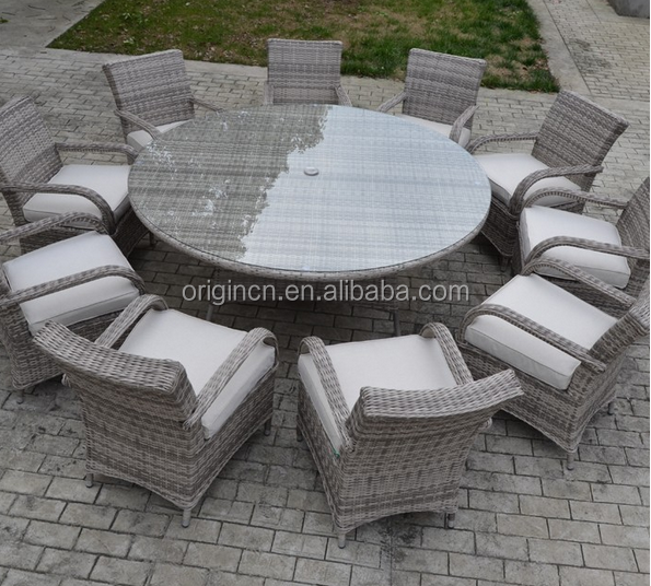 Extra large home gathering wholesale hotel round dining table and chair heavy wicker outdoor furniture