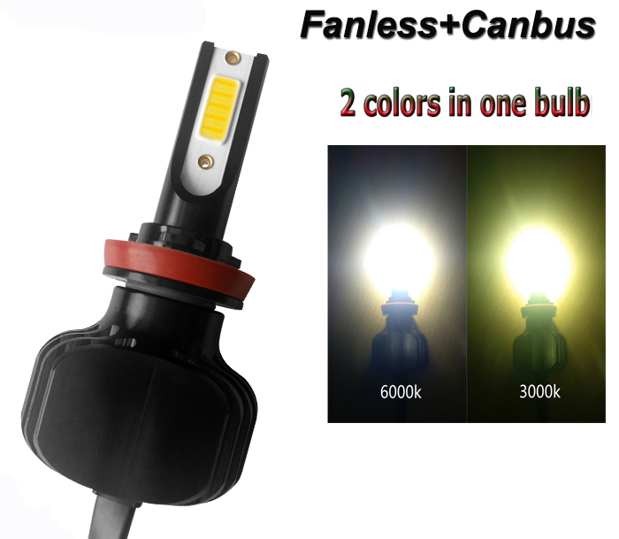 2018 New Product Dual Color LED Headlight H4 H7 H11 9005 9012 D2 Fanless LED Car Bulb, 3000K 4300K 6000K Auto Headlight LED
