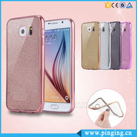Electroplate Soft Glitter TPU Gel Skin Case Cover For Samsung Galaxy S6 S7 / Edge Bling Silicone Phone Case
