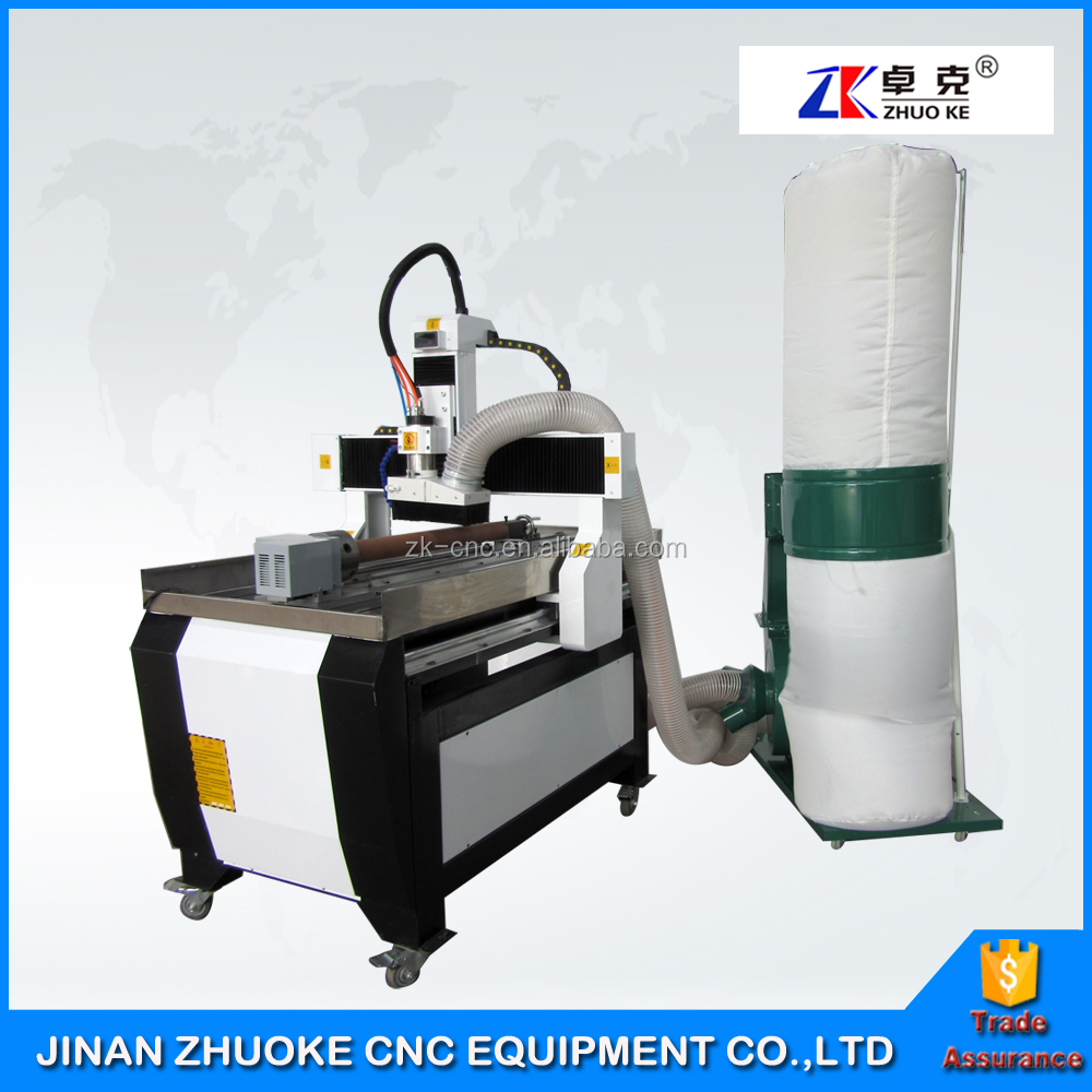 Small Milling Machine 4 Axis CNC 6090 600*900mm With 200mm Z Axis Mach3 4 Axis Control System ZK6090-1.5Kw