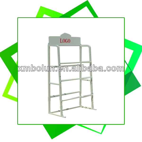 Custom promotional 3 tiers metal rug display stand with logo