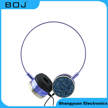 2017 New Colorful Wired Stereo Fashion Headphone Lady Headset with Glitter