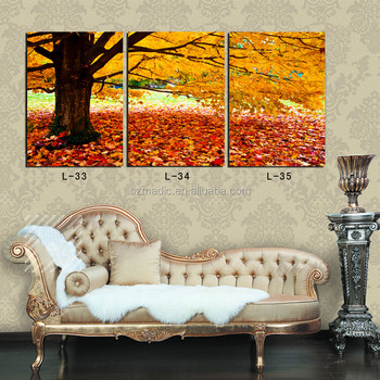 Modern Wall House Painting 3 Panel Big Tree Autumn Scenery Canvas Print for Room Decoration