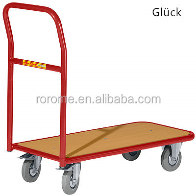Wheeling Roll Trolley Plate Trolley Wood platform hand cart