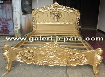Rococo Wooden Furniture Gold Color - Antique Reproduction Rococo Bedroom Sets