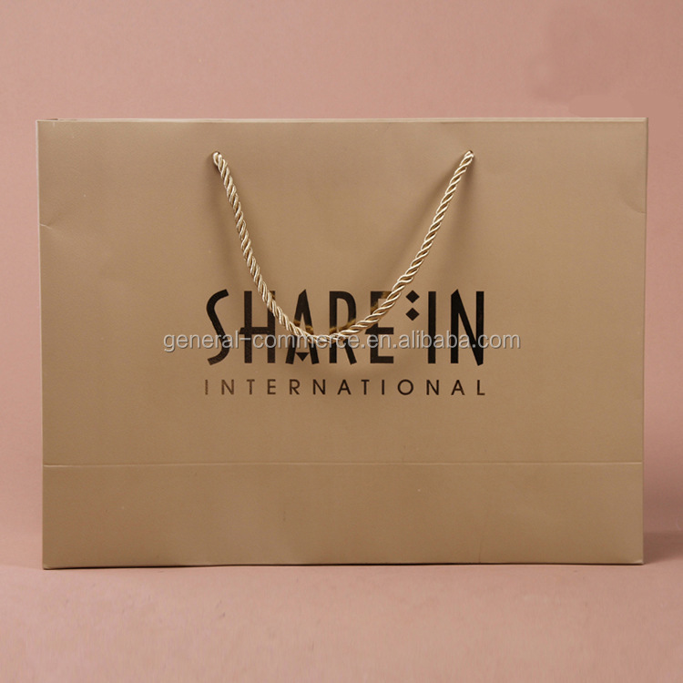 Custom Printed Luxury Kraft Gift Paper Shopping Carrier Bag with Cotton Handle
