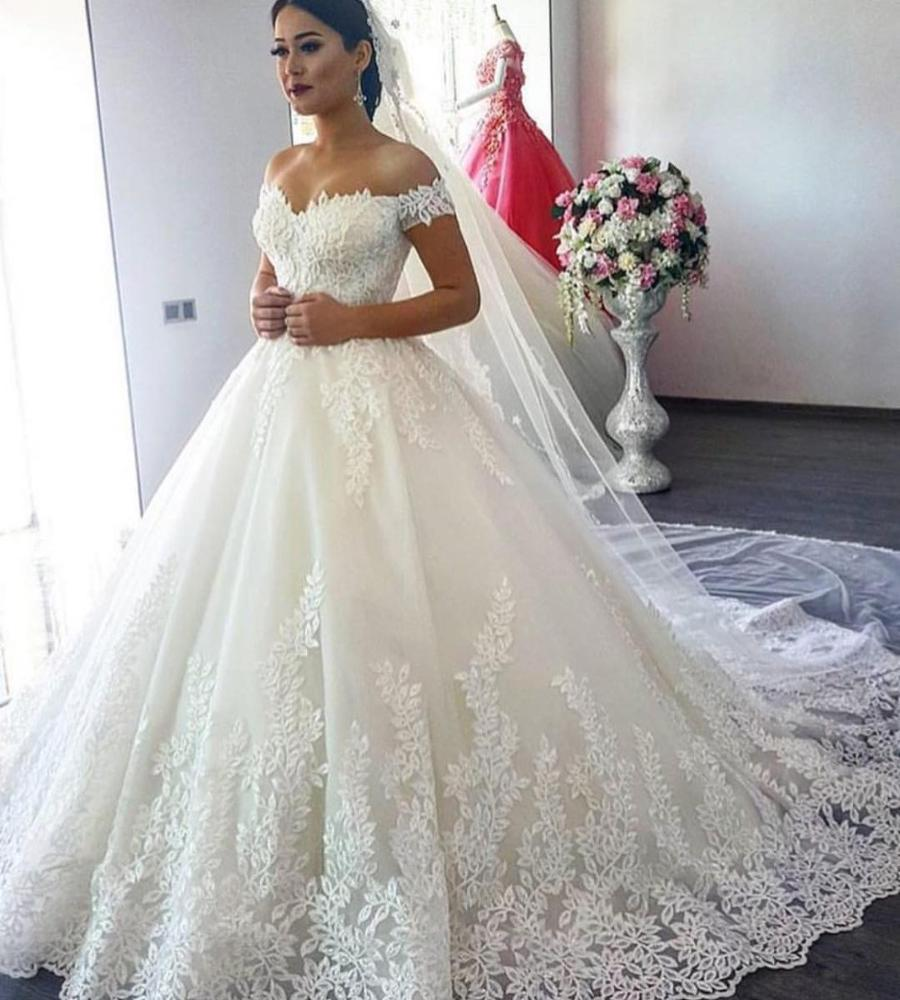 NE119 Elegant Lace Ball Gown Long Sleeve Wedding Dresses 2019 Gelinlik Sweetheart Sheer Back Princess Illusion Bridal Gowns