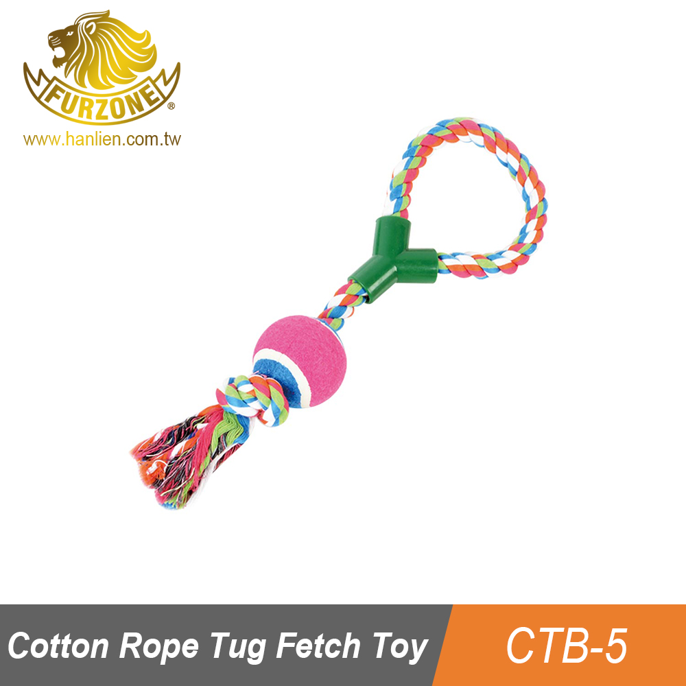 Cotton Braided Dog Rope Handle Toy with Tennis Ball