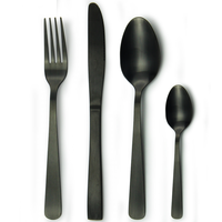 different kinds of flatware matte finish cutlery set black gold plated OEM