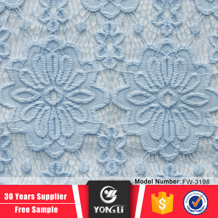 China factory price blue 100 polyester swiss tulle lace net lace fabric