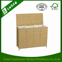 Wicker Woven Seagrass Triple Laundry Sorter Baskets with Removable Bags