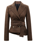 High Quality Wholesale Women Short Length Wool Overcoat Formal Coats Ladies Design Office Coat With Belt
