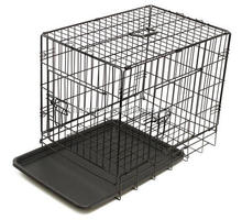 Black Dog Cage Crate Suitcase Folding Animal Kennel Pet ABS Tray Pan