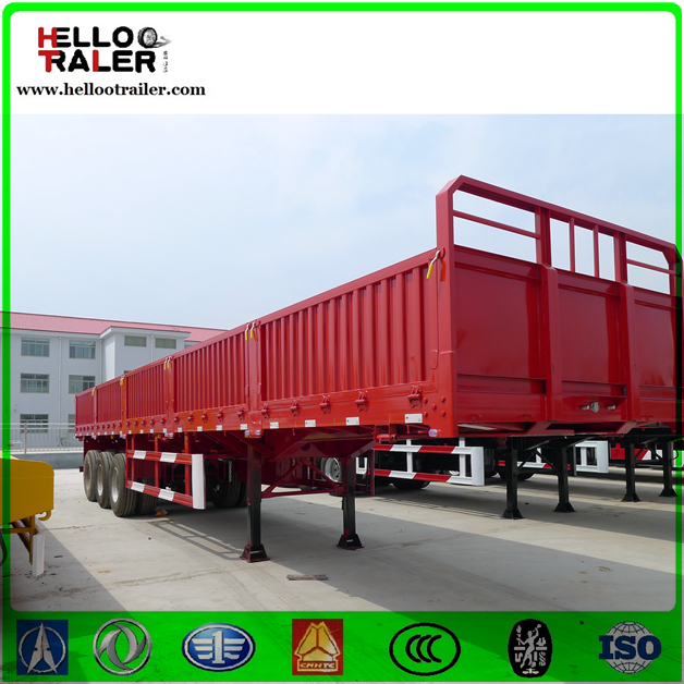 3 Axles 40ton side wall Stepwise Open Fence Truck Cargo Utility agricultural trailer