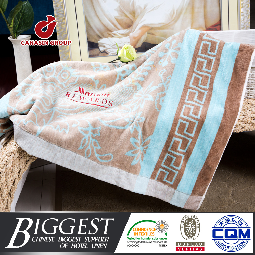 Hotel and home use simple style cotton double wide beach towel