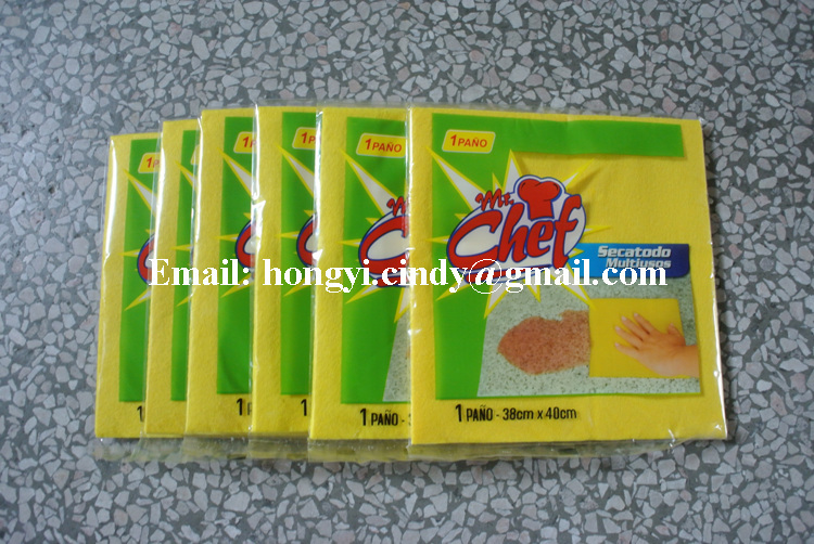 China factory direct sale nonwoven fabric yellow color multi-purpose household cleaning cloth, household cleaning towels