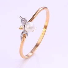 50846 fashion big pearl charm jewelry women Environmental Copper bangles