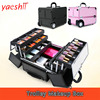 yashii professional Portable Aluminum Storage Box Organizer Folding Jewelry Cosmetic Makeup Case Trolley Beauty Case