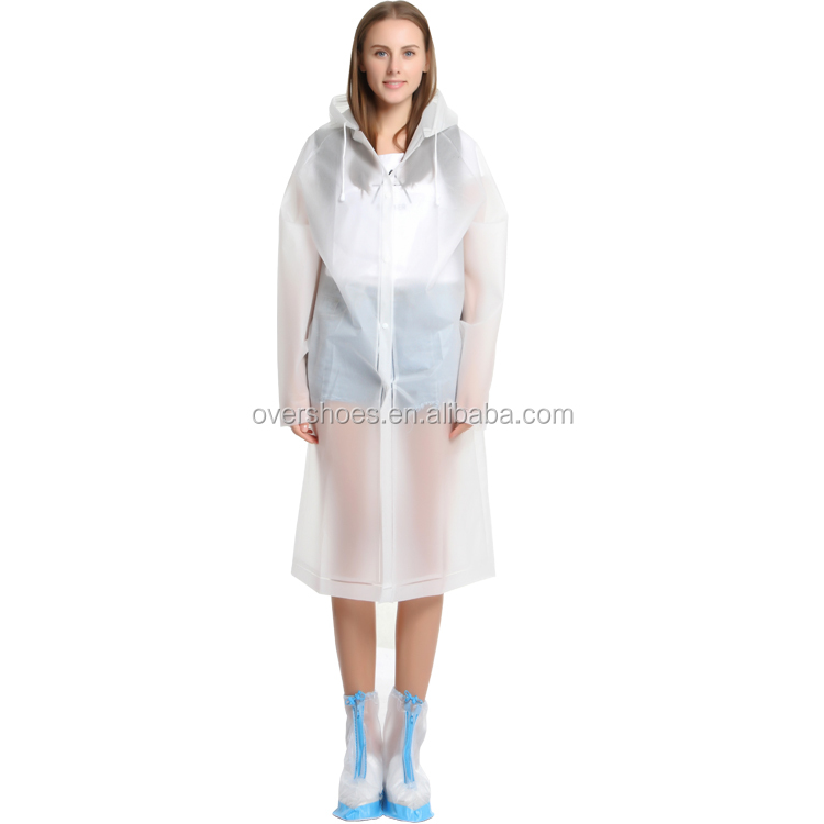 New Women EVA Transparent Raincoat Poncho Portable Environmental Light Raincoat Long Use Rain Coat